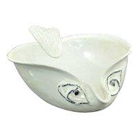 Vtg ED LANGBEIN FISH Italian Art Pottery Bowl Mid Century Modern White Black Lg