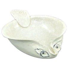 Vtg ED LANGBEIN FISH Italian Art Pottery Bowl Mid Century Modern White Black Med