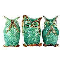 Vtg MAJOLICA OWL FIGURES 3 See Hear Speak No Evil Turquoise Brown Art Pottery