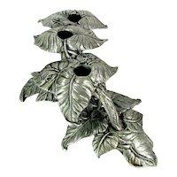 Vintage CARSON LEAF CANDLE Holder 2 Piece Cast Aluminum Candleholder