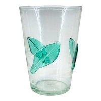 Vintage BLENKO Beaker Vase Applied Aqua Leaf Crackle Glass 366
