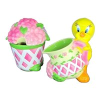 Fab TWEETY BIRD Beautiful Garden Creamer & Sugar Set 2000 Warner Bros.
