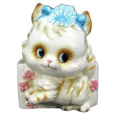 Vintage Kitten Nursery Vase Pink Blue Cat Japan A715 Figural Baby Floral Planter