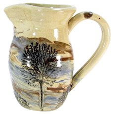 Vintage Sevierville Tennessee American Art Pottery Pitcher Mocha Style Tree Landscape Painting