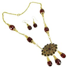 Gorgeous Bohemian Garnet and Cherry Amber Bead Necklace & Earring Artisan OOAK Set