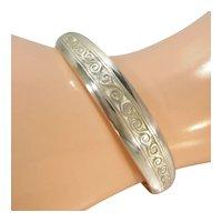 TJH Ireland Sterling Celtic Cuff Bracelet Tooled Silver