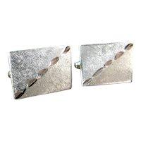 Vintage Textured Sterling Cufflinks Silver Rectangular Cuff Links