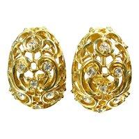 Vintage St. John Rhinestone Earrings Gold Tone Clip On Designer Signed
