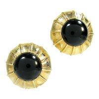 Vintage Donald Stannard Black Cab Clip Earrings Gold Tone Designer Signed