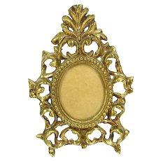 Vintage Cast Metal Ornate Photo Frame Brass Finish 7249 Oval Victorian Revival