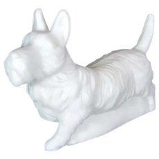 Vintage SATIN GLASS West Highlands White Terrier Dog Figurine Opal Milk Scotty Paperweight
