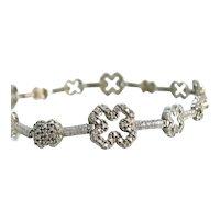 """Vintage Ross Simons Sterling 4 Leaf Clover Bracelet 8"""""""
