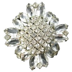 Vintage Rhinestone Pin Sparkling Clear Stones  Brooch