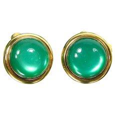 Vintage Swank Green Moonglow Cufflinks Gold Tone