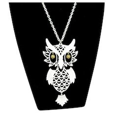 Vintage White Enamel Owl Pendant Articulated Figural Necklace
