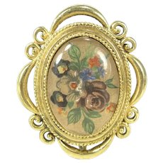 Vintage CORDAY FLORAL LOCKET Solid Perfume Pendant Gold Tone Flowers