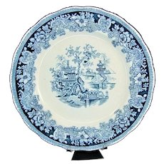 """Antique ORIENTAL SHANGHAI Plate Lot of 4 Flow Blue Teal White 9.75"""""""