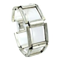 """Vintage Square Link Artisan Bracelet Silver Tone 7/8"""" Wide Open Design 7 1/8"""""""