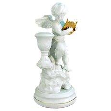 Vtg Cherub Candle Holder Franklin Mint Amorini Di Pompeii Porcelain Lyre Figure