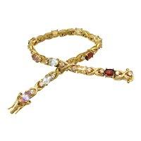 FAS Hugs & Kisses Sterling Cz Gemstone Tennis Bracelet 925 Gold Vermeil Over Silver