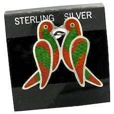 Vintage Mexican Sterling Enameled Lovebird Pin Taxco Mexico Silver Marked ARI