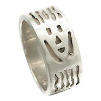 Native American Sterling Silver Band Ring Smiling Faces Indian Handcrafts Shop Sz 7 1/4