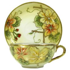 Japanese Yellow Floral Cup & Saucer Hand Painted Flowers Nippon Style Gold Trim