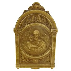 Vintage St Joseph & Baby Jesus Religious Plaque Stand Celluloid or Early Plastic