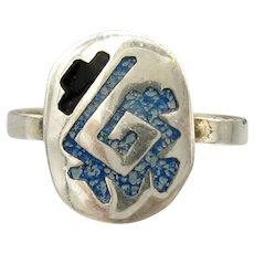 Vintage Mexican Sterling Ring Handmade Silver Enamel Sz. 5 1/2