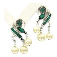 Vintage CROWN TRIFARI Faux Pearl Green Rhinestone Earrings Clip On Dangle Designer Signed