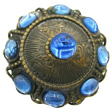 Vintage Blue Glass Cab Filigree Ring Adjustable