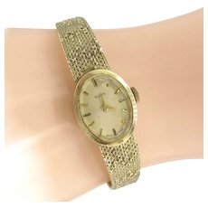 Vintage ELGIN 927 14K Mid Century Modern Bracelet Wrist Watch Stem Wind 17 Jewels