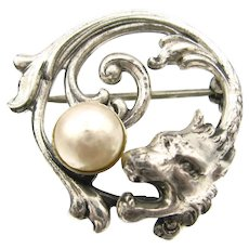 Fab Sterling Griffin Dragon Head Pearl Pin Figural Brooch