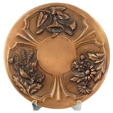 """Vintage Albert Gilles Copper Embossed 12"""" Plate Arts & Crafts Floral Wall French"""