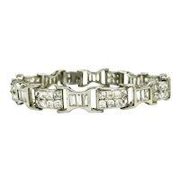 "Gorgeous SYK Heavy Sterling CZ Link Bracelet 7 3/4"""