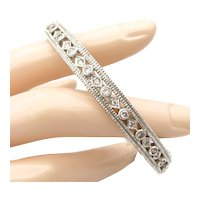 Vintage Sterling Art Deco Style Hinged Bangle Faux Diamond CZ Silver Bracelet