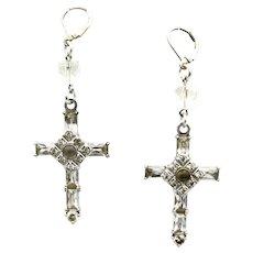 Fab Artisan Stanhope Cross Rhinestone Earrings The Lord's Prayer Pierced