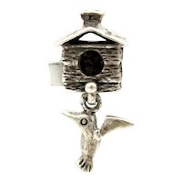 Vintage Chamilia Sterling Bird House & Hummingbird Silver Charm For European Charm Bracelet