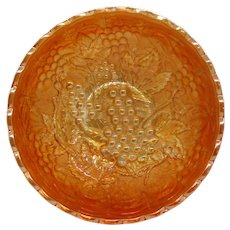 Vintage Imperial Grape and Cable Carnival Glass Bowl Marigold Iridescence