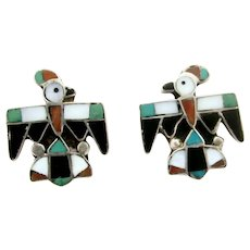 Vintage Sterling Hopi Thunderbird Earrings Inlaid Stone in Silver Screw Back