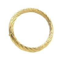 C^A Canada Gold Over Sterling Bangle Twist Spiral Design Hinged Silver Bracelet