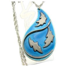 Ega Original Enameled Pendant Mid Century Modern Blue Necklace