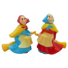 Rare Kitchen Witch Salt & Pepper Shakers 70S JSNY Hong Kong