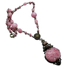 Vintage CZECH Pink Peking Glass Necklace Filigree Seed Pearl