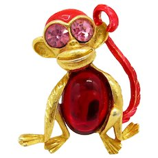 Mystery Monkey Rhinestone Red Jelly Belly Pin Figural Enamel Brooch