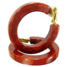 Vintage Rusty Red Swirl Bakelite Earrings Hoop Clip On