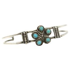 Vintage 900 Silver Turquoise Small Child's Cuff Bracelet