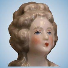 4.25 Inch Antique Half Doll Elaborate Gray Hair nude lady circa 1920