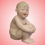 Huge 8.5 Inch Antique Heubach Chubby Character Piano Bisque Baby c.1890