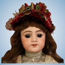 22 Inch Antique Doll Marked DEP Jumeau, brunette human hair wig, Open Mouth Teeth